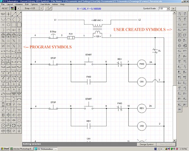 electrical schematic software: user interface